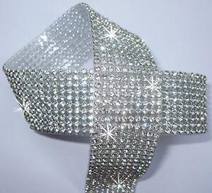 3mm-CHATON-10strp-Clear-Silver-iron-on-CRYSTAL-Diamond-DIAMANTE-ROPE-reel-ribbon