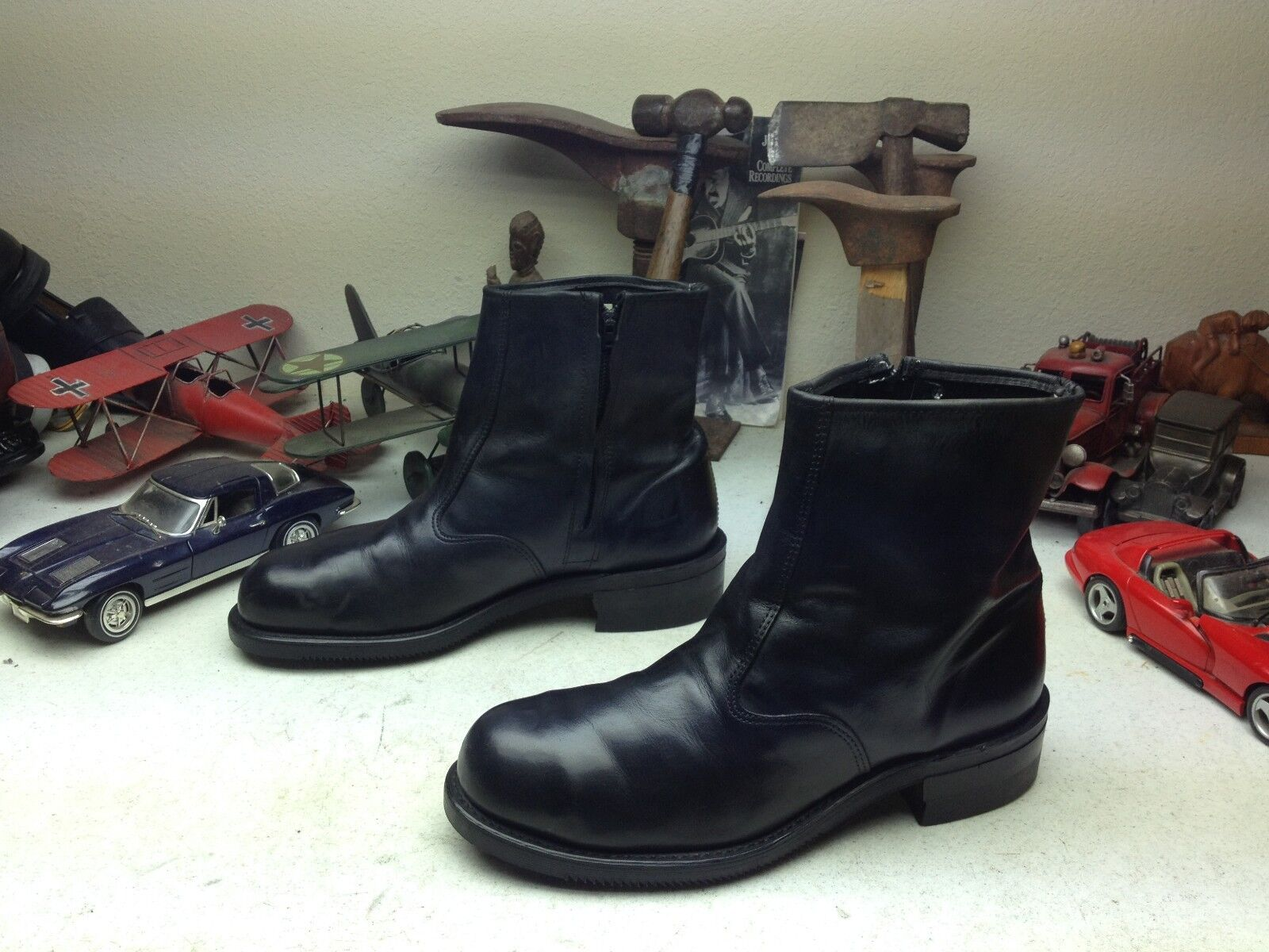 US VINTAGE DISTRESSED REV DOUBLE H BLACK LEATHER STEEL TOE MOTORCYCLE BOOTS 11 D