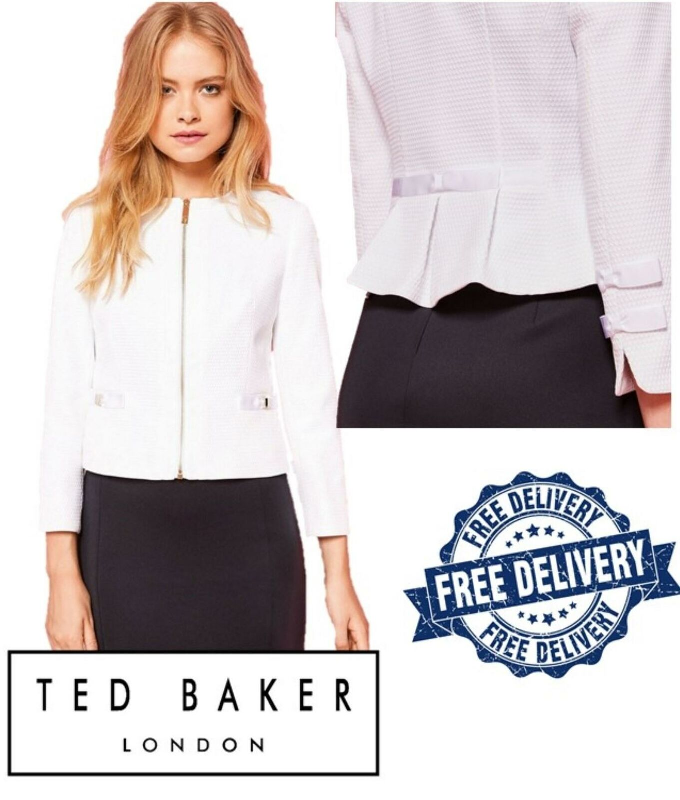 Ted Baker Ivory Textured Crop Bow Jacket Smart Casual Women's Zip Jacket White