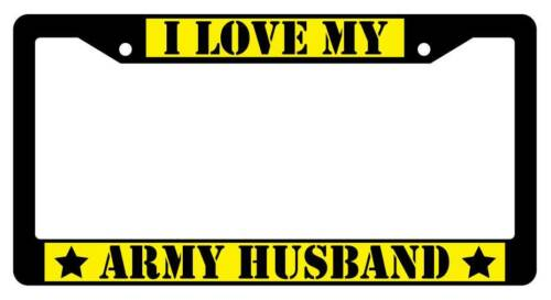 YELLOW Auto Accessory 168 Black License Plate Frame I LOVE MY ARMY HUSBAND