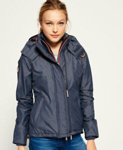 Details about New Womens Superdry Pop Zip Hooded Arctic SD Windcheater Jacket Mid Charcoal Mar
