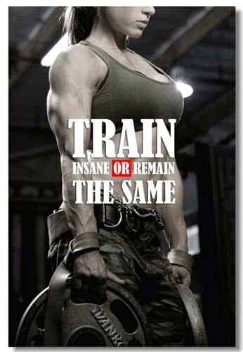 Poster Bodybuilding Men Girl Fitness Workout Quotes Motivational Font Print 029