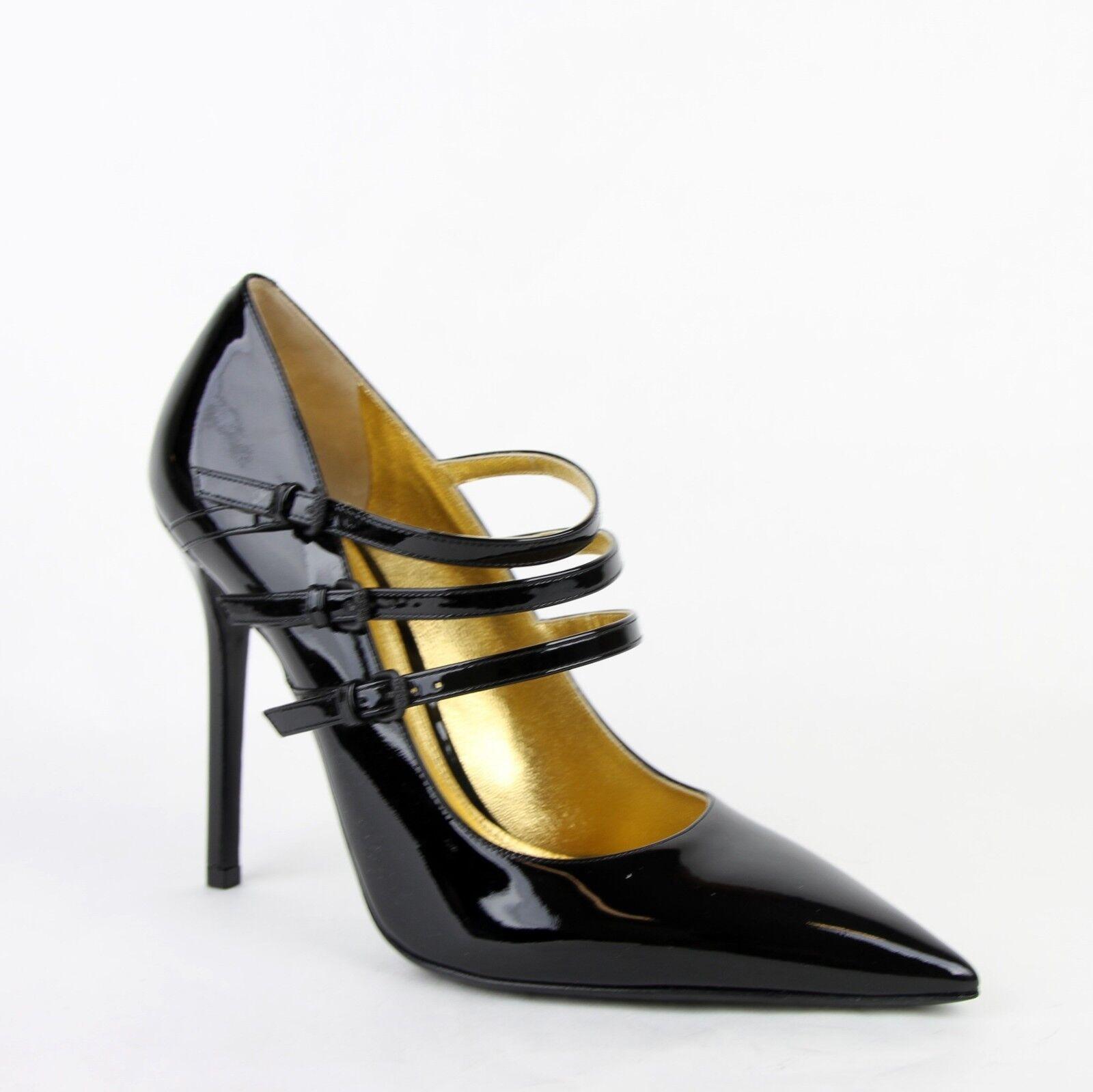 740 Bottega Veneta Women Black Patent Leather 3 Straps Heels 40 10 443156 1000