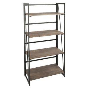 OPEN-BOX-Dakota-Industrial-Bookcase-in-Black-Metal-and-Wood