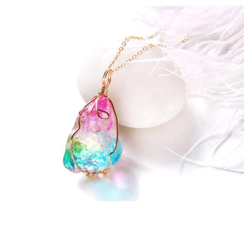 Rainbow Stone Natural Crystal Chakra Rock Chain Necklace Quartz Pendant Jewelry