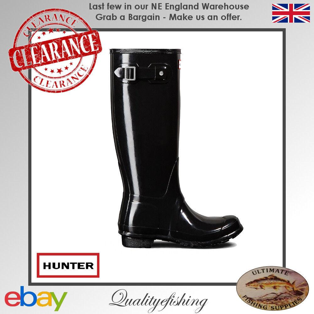 CLEARANCE  Hunter Women's Original Tall Gloss Black Wellington Boots UK 4