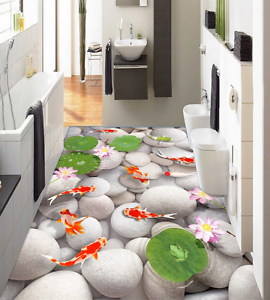 3D White Stone Pond 833 Floor Wall Paper Murals Wall Print AJ WALLPAPER UK Lemon