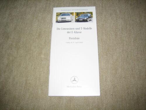 MERCEDES Classe E Limousine /& T-Modello BR 210 LISTINO PREZZI PRICE LIST 17.04.2000