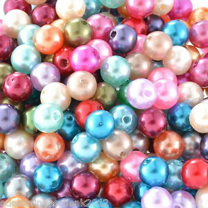 300-Mix-Rund-Acryl-Perlen-Beads-Kunststoffperlen-Kugeln-Wachsperlen-8mm