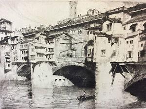 Estampe-pointe-seche-Lajos-Szanto-1889-1965-pont-Vecchio-Florence-Italie