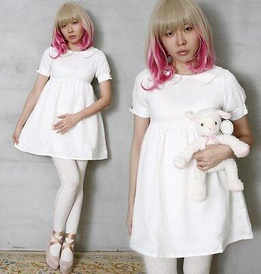 Japan Angelic Cutie Gyaru Bridal Empire Waist BabyDoll Nurse Tulle Overlay Dress