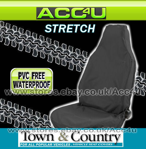 Town & Country 3D Stretch BLACK Waterproof Car Front Single Seat Cover Protector