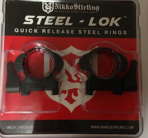 "Nikko Steel LOK Quick Release QD Weaver//Picatinny Scope Mount Rings Med//Low 1/"""