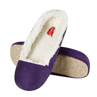 Señoras Polar Sherpa Forrado de terciopelo soxo Ballet Zapatillas-púrpura, rosa o azul