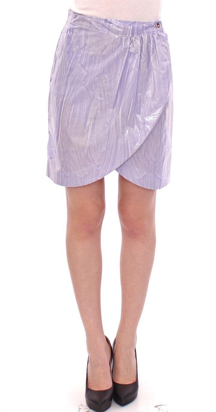 NWT Licia Florio Purple Viscose Above-Knee Wrap Skirt IT40   US6   EU36   S