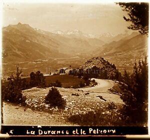 FRANCE-Alpes-Lac-Durance-et-Pelvoux-ca-1910-Photo-Stereo-Vintage-Plaque-Verre