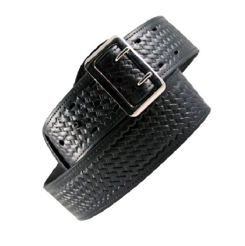 "Boston Leather 6501-3-44 Black Basketweave Lined 2.25/"" Sam Browne Duty Belt"