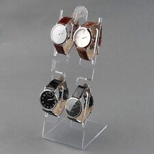 4 Slots Clear Watch Bracelet Jewelry Showcase Display Stand Holder Show Rack New