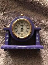 Miniature Xanadu Quartz Purple w/ White Flowers Design Antique Mantle Clock EUC