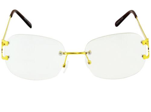 Fashion Vintage Metal Buffs Designer Eyeglasses Square Gold Clear Lens Glasses