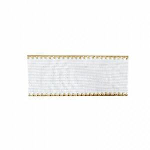 Nastro tela Aida 3 cm Rotolo da 20 metri colore Bianco e bordo Oro