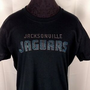 competitive price a3db3 79f77 Details about Women's Jacksonville Jaguars Rhinestone Football T Shirt Tee  Bling Lady