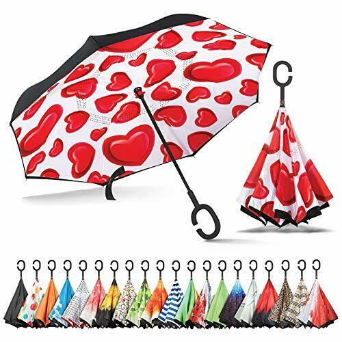 Inverted, Windproof, Reverse Umbrella for Women with UV Protection, Hearts