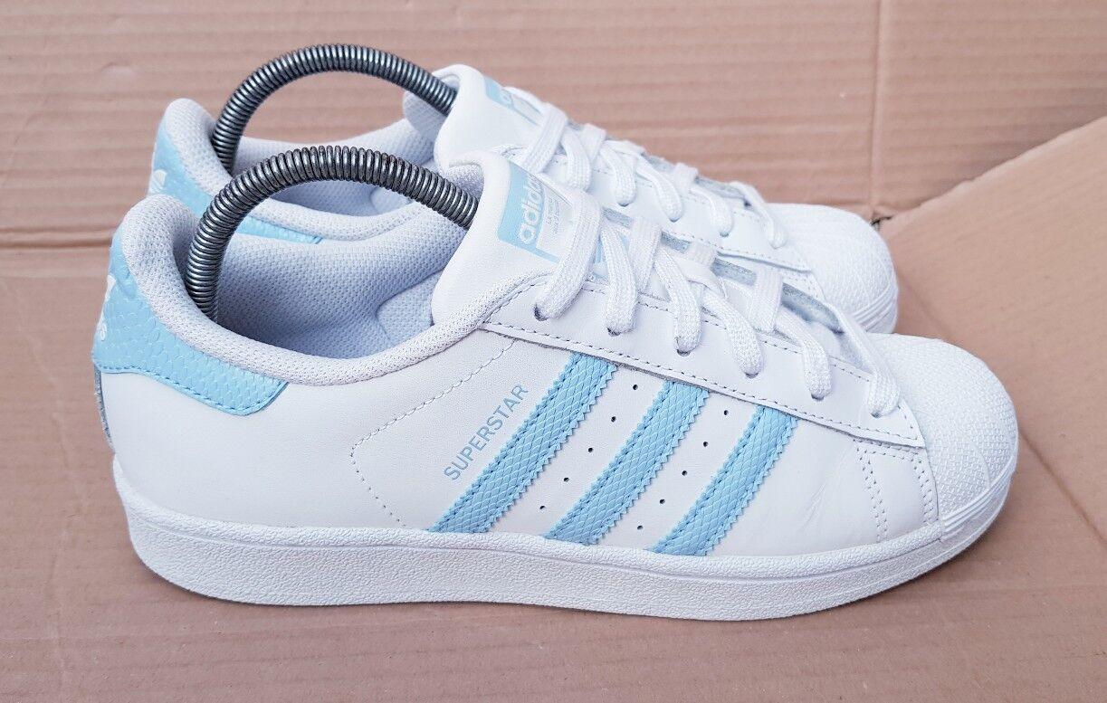 ADIDAS Superstar Scarpe Da Ginnastica Bianco Blu Rettile Taglia 5.5 UK rara colorazione eccellente X