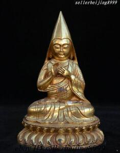 """7/"""" Collect Old Tibetan Bronze Gilt Je Tsongkhapa Lama Tsong Khapa Buddha Statue"""