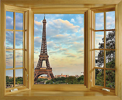 Sticker trompe l/'oeil fenêtre Tour Eiffel 85x70cm 232