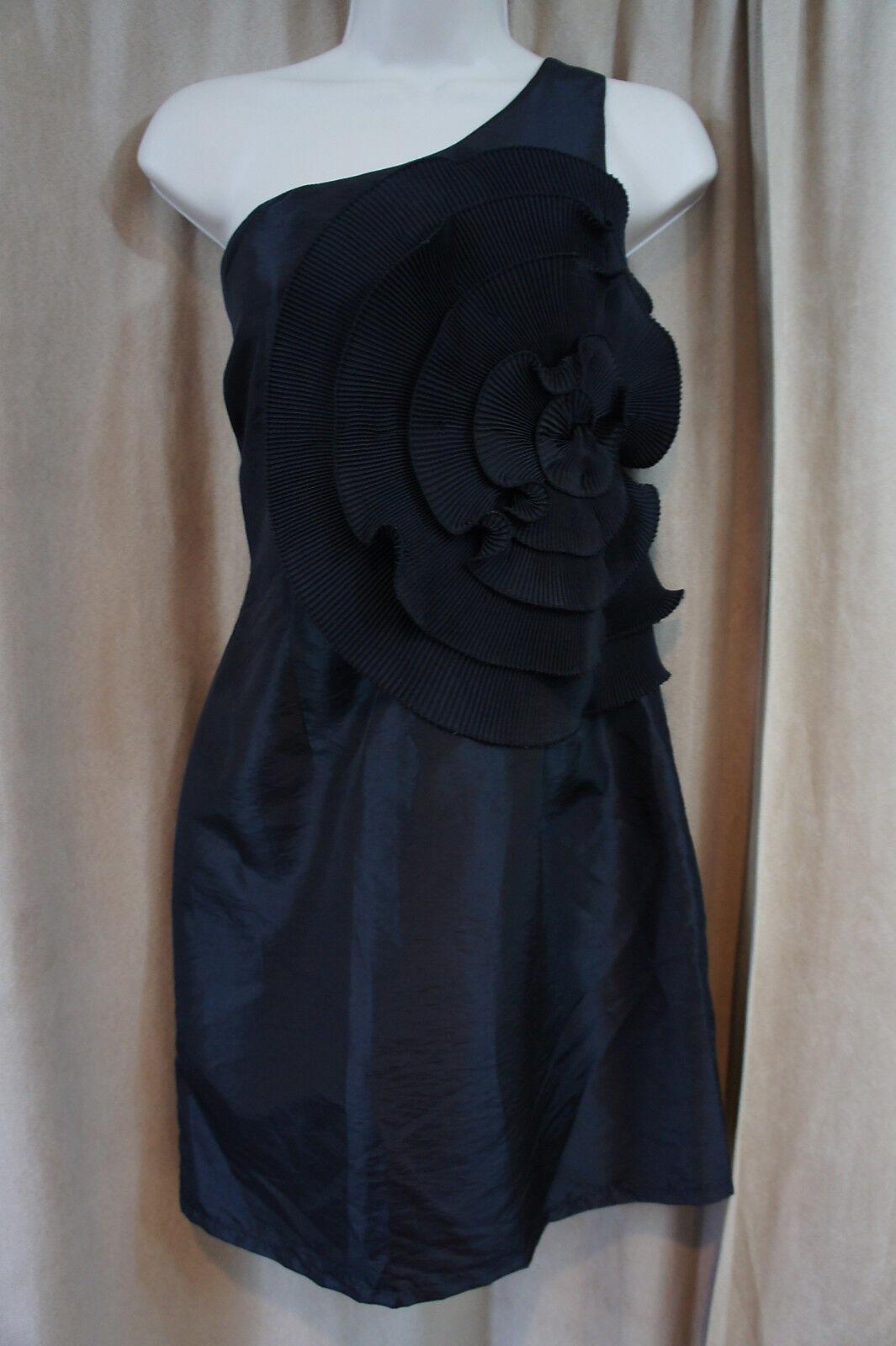 Laundry par Design Größe 6 schwarz Taffetas Fl une Épaule Robe de Cocktail