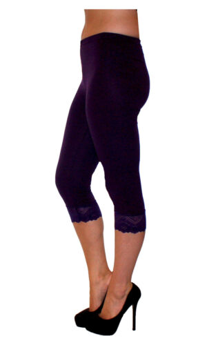 All Colours and Sizes NEW Cropped with Lace 3//4 Leggings Cotton Lace