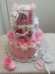 3 Tier Baby Block Diaper Cake Shower Centerpiece Boy Girl