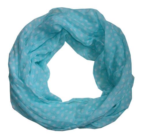Big Punkte Loopschal mit Seide /& Baumwolle hellblau Seidenschal Loop Schal