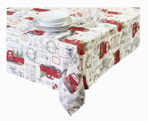 Christmas Rectangle Tablecloth 52 X 70 Red Truck Trees Farmhouse Textured Print Ebay