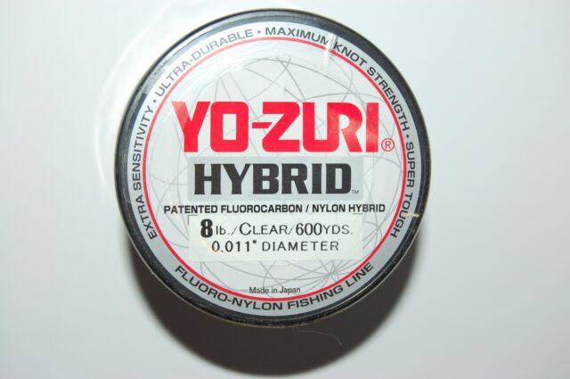 yo zuri fluorocarbon nylon hybrid 8lb lo-vis clear 600yds spool fishing line