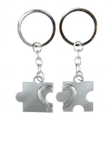 Schlüsselanhänger Puzzle mit Herz in silber oder rot wählbar glänzend