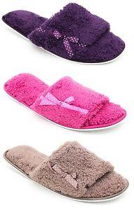 Damen-Weiches-Warm-Gefuettert-Pantoffeln-mit-Gepunktet-Seitenschleife
