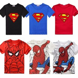 Spiderman-Toddler-Kids-Boys-Short-Sleeve-Summer-T-shirts-Tops-Clothes-Age-2-7
