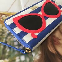 Kate Spade Stripe Sunglasses 'make A Splash' Neda Zip Around Continental Wallet