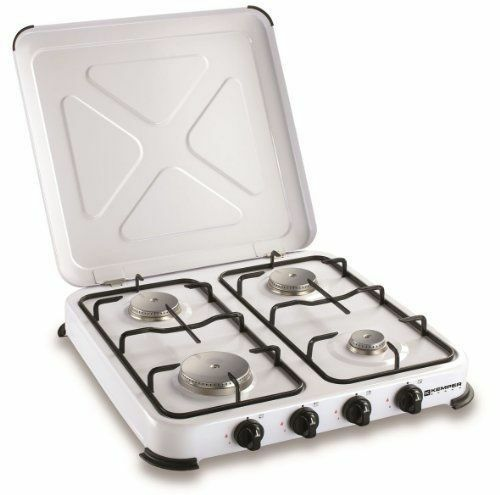 Kemper estufa gas 4 fogones profesional x camping cocina acero inoxidable nuevo