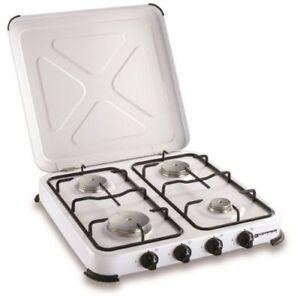 Kemper fornello a gas 4 fuochi professionale x campeggio cucina acciaio inox new
