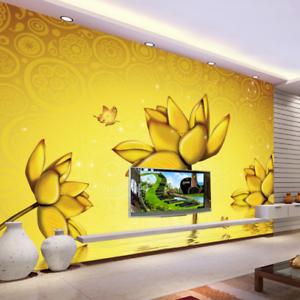 3D golden Lotus Pond 7 Wall Paper Murals Wall Print Wall Wallpaper Mural AU Kyra