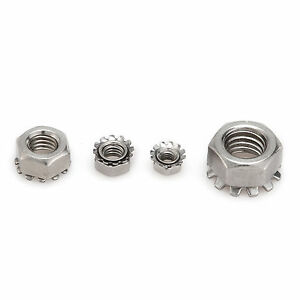 New-M3-M4-M5-M6-M8-A2-Stainless-Steel-Hex-Nut-Tooth-Lock-Nuts-Washer-Screw-Bolt