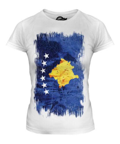 KOSOVO GRUNGE FLAG LADIES T-SHIRT TEE TOP KOSOVA KOSOVAR K???? FOOTBALL KOSOVAN