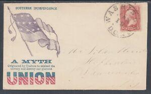 US Sc 65 on 1862 Patriotic Cover with original enclosure, 2 Certs.