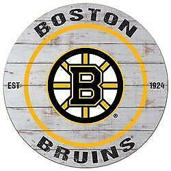 Boston Bruins Distressed 20 Inch Round Wood Sign (New) Canada Preview