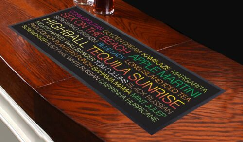 Cocktail Bar Towel Runner Pub Mat Beer Cocktails Party Bus Blind Coloured Text