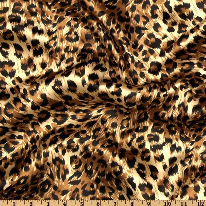 75ft Cheetah Leopard Satin Aisle Runner Animal Silky Charmeuse Printed Fabric