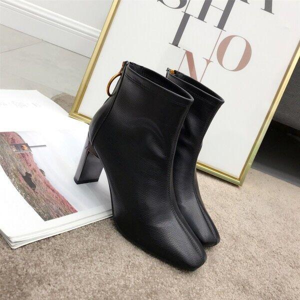 Bottes basses confortable 8 cm cheville noir élégant comme cuir 9541